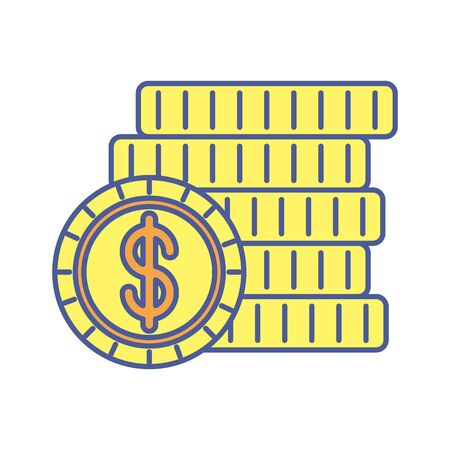 pile coins money dollars icons vector illustration design