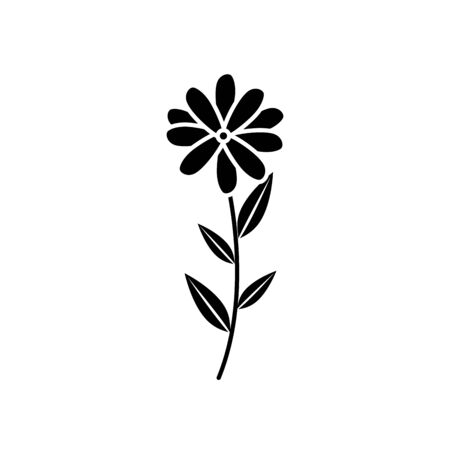cute flower with branch and leafs vector illustration design