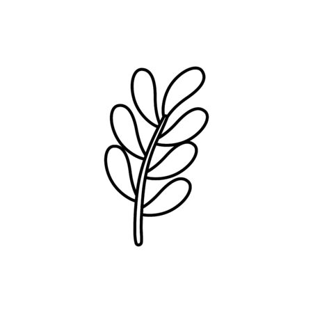 branch with leafs nature ecology line style icon vector illustration design