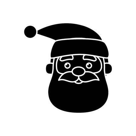 silhouette of head santa claus character of merry christmas vector illustration design Ilustração