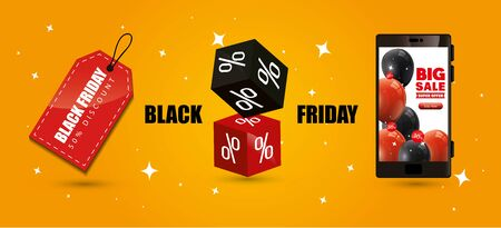 black friday poster with smartphone and decoration vector illustration design