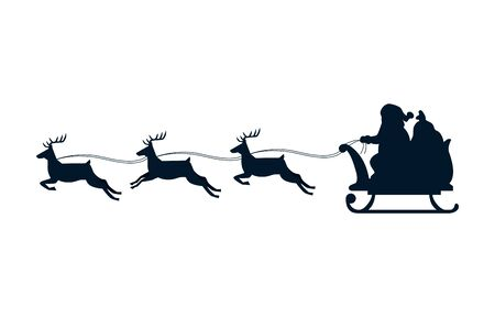 silhouette of sled santa claus with reindeer isolated icon vector illustration design Ilustracja