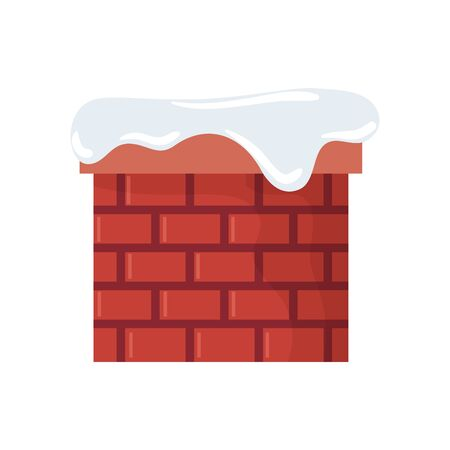 chimney with snow isolated icon vector illustration design Illustration