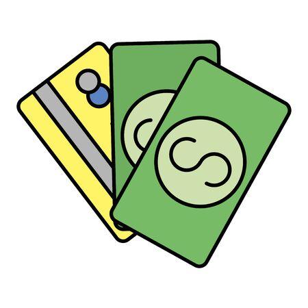 credit card and bill money vector illustration design 向量圖像