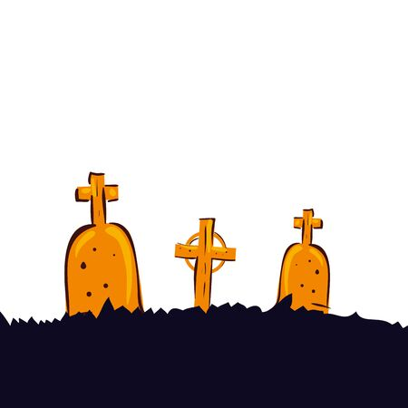 halloween tombs of cemetery isolated icon vector illustration design