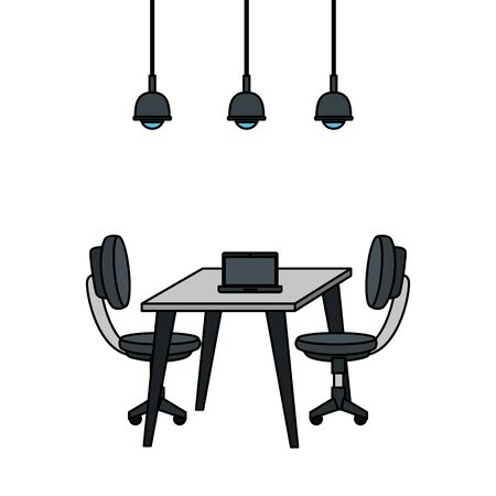 office chair with desk and laptop vector illustration design Vektorové ilustrace