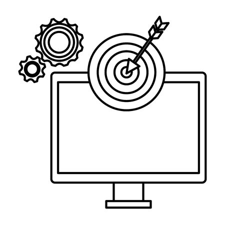 computer with target arrow success and gears vector illustration design