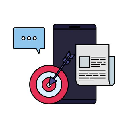 smartphone with target and documents vector illustration design