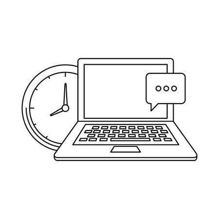 laptop computer with time clock vector illustration design Illusztráció