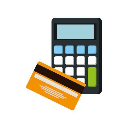 credit card money plastic with calculator vector illustration design Illusztráció