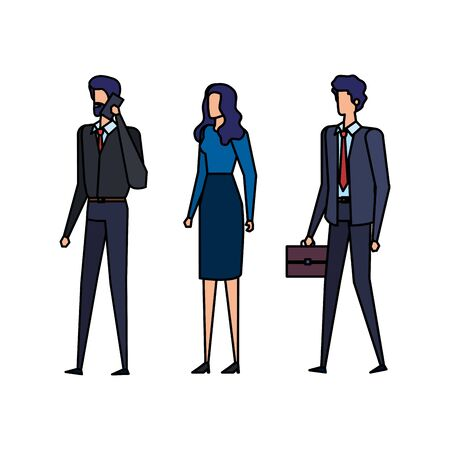 elegant business people workers calling with cellphone vector illustration design
