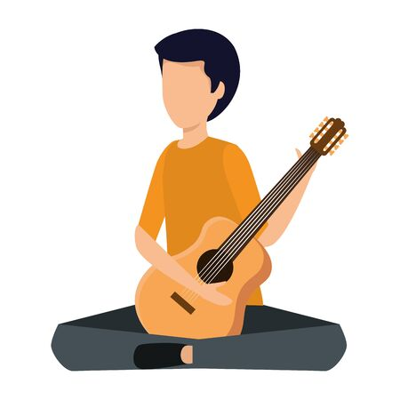 young man playing guitar instrument vector illustration design Stok Fotoğraf - 134103088