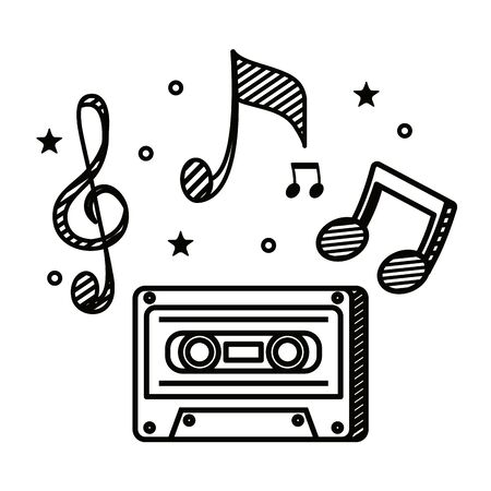 audio cassette record with music notes vector illustration design 向量圖像