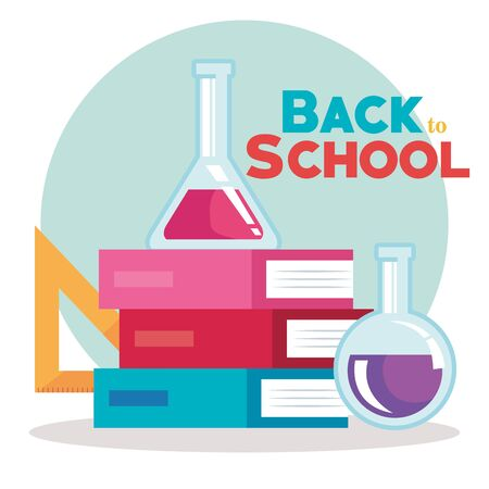 erlenmeyer flask with triangle ruler elementary suppies to back to school vector illustration
