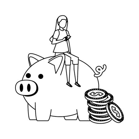 young woman seated in piggy savings with coins money vector illustration design