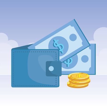 coins and bills money dollars with wallet vector illustration design 向量圖像