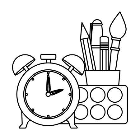 alarm clock with school supplies vector illustration design Illustration