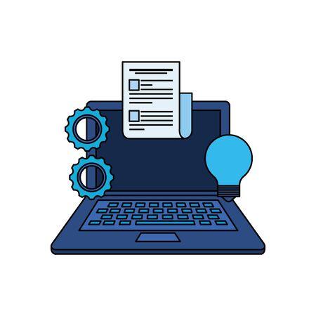 laptop computer with gears settings vector illustration design Ilustração