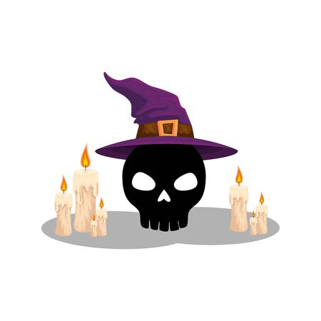halloween skull with hat of witch and candles vector illustration design