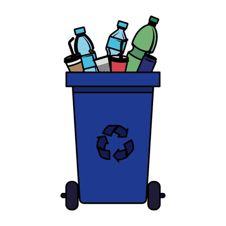 recycle waste with plastic products vector illustration design