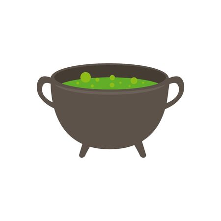 halloween cauldron of witch isolated icon vector illustration design
