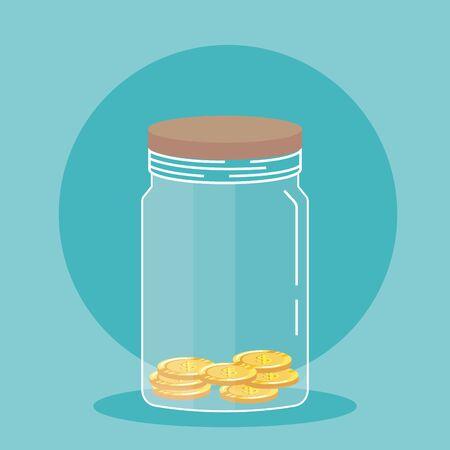 coins cash money save in glass bottle over blue background, vector illustration Illusztráció