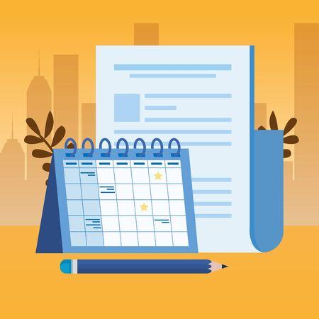 Papierdokumentdatei mit Kalendervektorillustrationsdesign