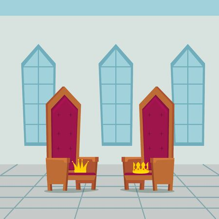 kings chair in castle indoor vector illustration design