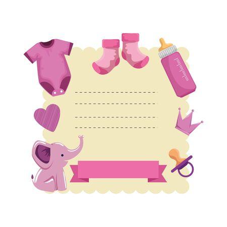 baby shower card with set accessories vector illustration design Illusztráció