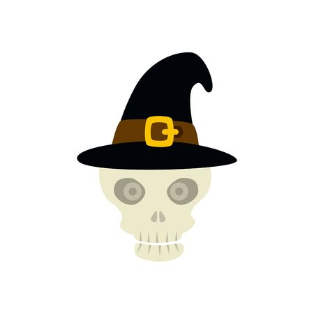 halloween skull with witch hat isolated icon vector illustration design