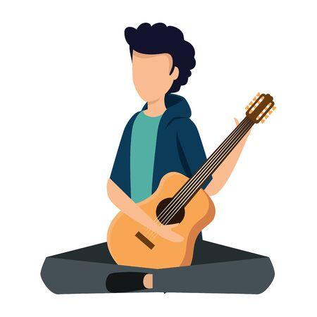 young man playing guitar instrument vector illustration design Vector Illustration