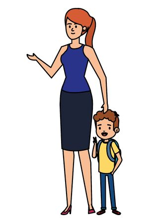 beautiful mother with little son characters vector illustration design
