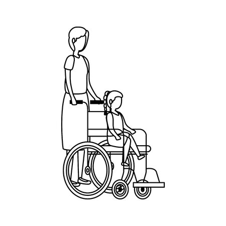 cute grandmother with granddaughter in wheelchair vector illustration design Illustration
