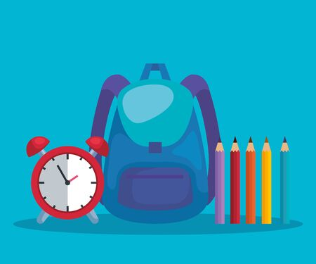 backpack with clock alarm and pencils colors to back to school vector illustration