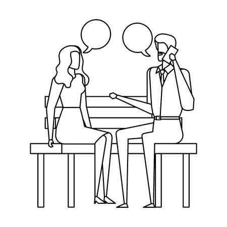 business couple calling in the park chair and speech bubbles vector illustration