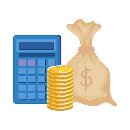 Bolsa de dinero con monedas y calculadora, diseño de ilustraciones vectoriales