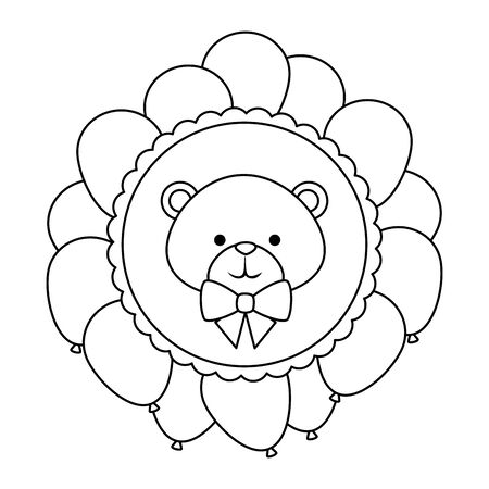 circular lace with cute little bear teddy and bowtie vector illustration design