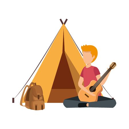 young man playing guitar with camping tent and travelbag vector illustration