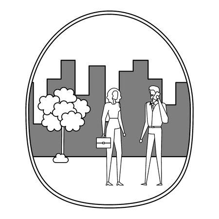Pareja de negocios con smartphone en la ciudad, diseño de ilustraciones vectoriales Ilustración de vector