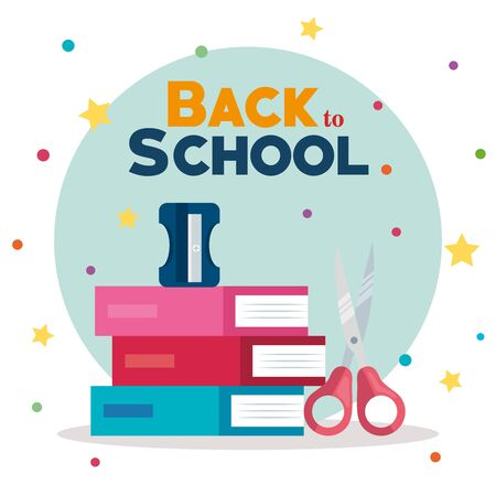 books with scissors and sharpener elementary suppies to back to school vector illustration Ilustração