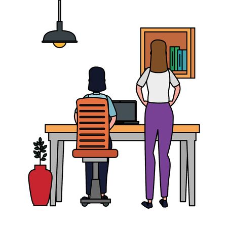 women in office workplace scene with laptop vector illustration design