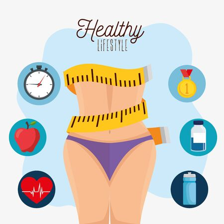 poster healthy lifestyle with waist female and icons vector illustration design