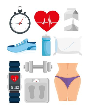 bundle of healthy lifestyle with icons vector illustration design