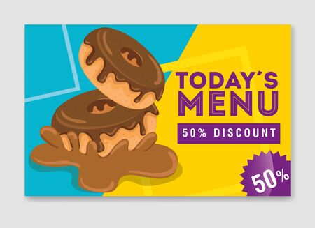 poster of today menu with delicious donut vector illustration design