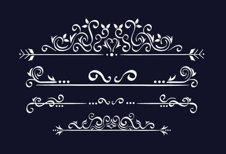 set of elegant ornamental borders frames vector illustration design