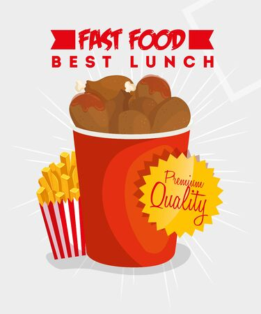 poster of best lunch with chicken and french fries vector illustration design 向量圖像