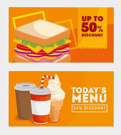 set of poster offer delicious fast food vector illustration design  イラスト・ベクター素材