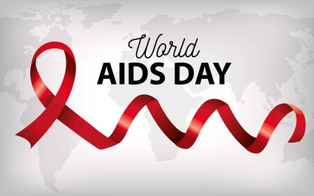 poster world aids day with ribbon and map vector illustration design 矢量图像