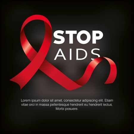poster stop aids with ribbon vector illustration design
