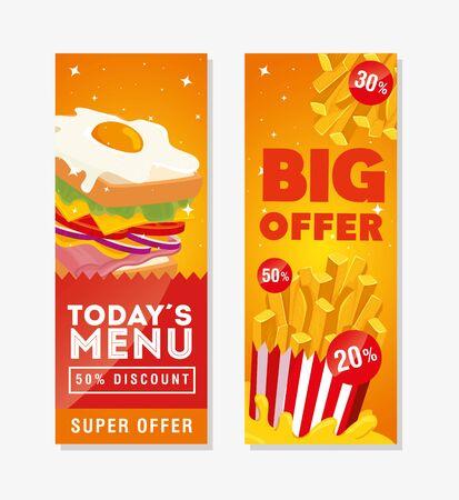 Conjunto de carteles ofrecen deliciosa comida rápida, diseño de ilustraciones vectoriales